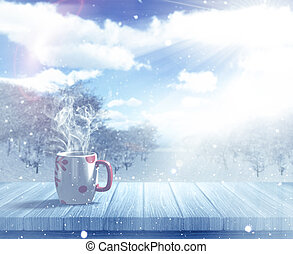 3D Christmas mug on a wooden table against a defocussed snowy landscape