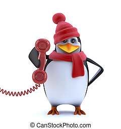 3d Christmas penguin answers the phone
