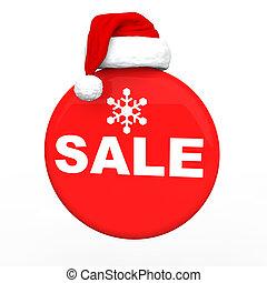 3d Christmas sale with Santa hat