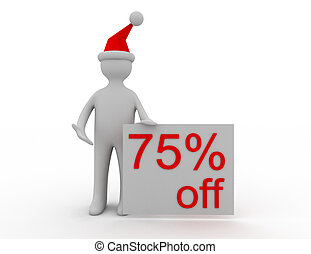 3d Christmas sales concept 75% off