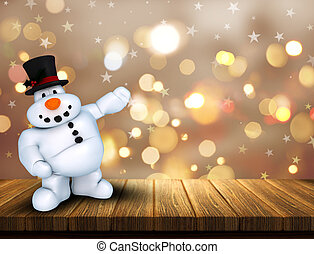 3D Christmas snowman on wooden table against a bokeh lights background