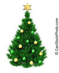 3d Christmas tree - 3d illustration of Christmas tree and...