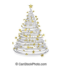 3D Christmas tree made of metal spirals and gold stars....