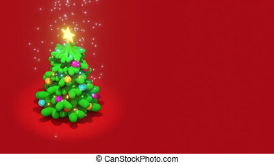 3D Christmas tree with balls and lights rotating on red background