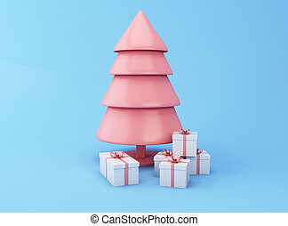 3d Christmas tree with gift box.