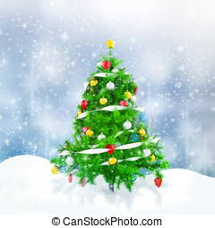 3d Christmas tree with snowflakes