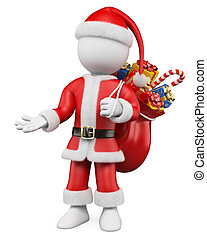 3D Christmas white people. Santa Claus pointing with one hand