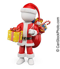 3D Christmas white people. Santa Claus with a gift