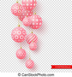 3d Christmas yellow balls with geometric pattern. Decorative elements for holiday new year design. Isolated on transparent background, vector illustration.