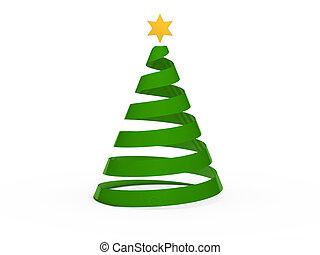 3d, chritmas, árbol, estrella, verde