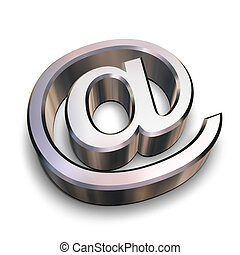A chrome-plated AT symbol isolated on a white background (3D rendering)