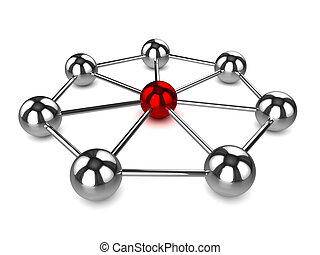 3d Chrome ball networks with central red core - 3d render of...
