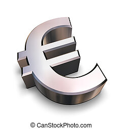 3D chrome Euro symbol - A chrome-plated Euro symbol isolated...