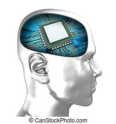 3d chrome head with microchip - 3d illustration of microchip...