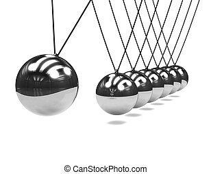 3d Chrome Newtons Cradle in action - 3d render of a chrome...