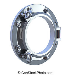 3d render of a chrome port hole