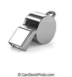 3d Chrome referee whistle - 3d render of a referee's whistle