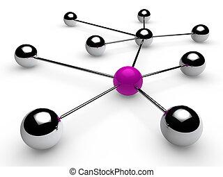 3d, chroom, paarse , netwerk