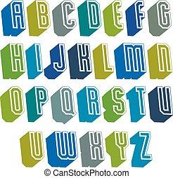 3d, chrzcielnica, z, dobry, styl, prosty, mający kształt, geometryczny, beletrystyka, alphabe