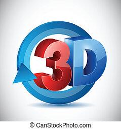 3d, ciclo, sinal, ilustração, desenho