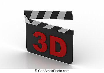 3d cinema clap board