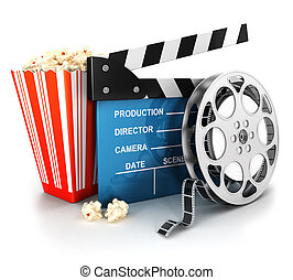 3d cinema clapper and film reel - 3d cinema clapper, film...