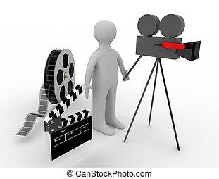 3d. cinema concept on white background