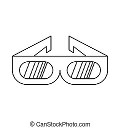 3D cinema glasses icon in outline style