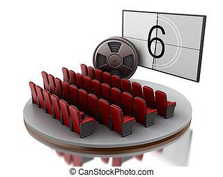 3d, cinema, teatro filme, com, película, reel.