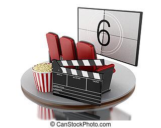 3d, cinema, teatro filme, com, pipoca, e, cinema, clap.