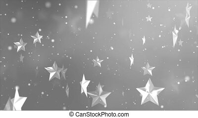 3D Cinematic moving particles with Star, triangle shapes floating Seamless loop 4K Animation. Abstract dust with stars motion background. greeting happy new year, christmas celebration concept