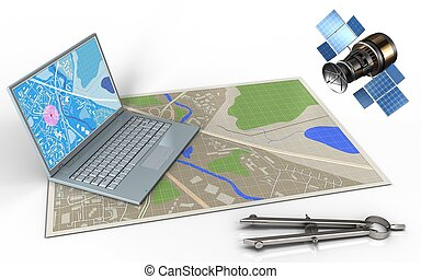 3d circle tool - 3d illustration of map with computer and...
