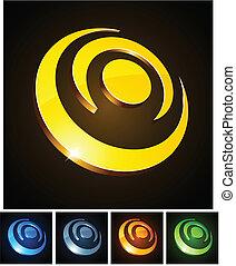 3d, circles., vibrante