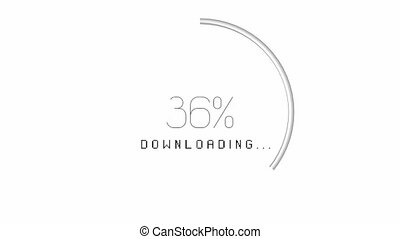 3D circular download animation - from 0 to 100%, white background
