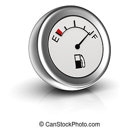 3d circular fuel gauge isolated on white background