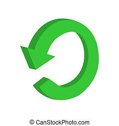 3D circular green arrow or recyclin