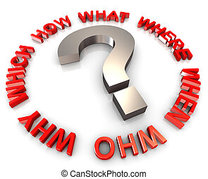 3d circular question words - 3d question mark encircle with...