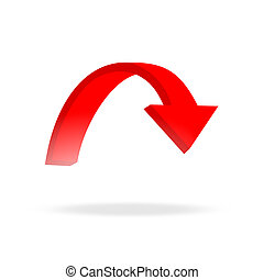 3d circular red arrow and bright