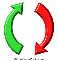 3d circular up and down arrows isolated in white