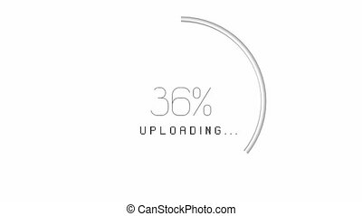 3D circular upload animation - from 0 to 100%, white...