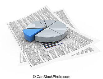 3d, cirkeldiagram, op, financieel, papier