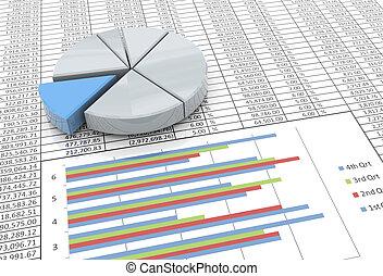 3d, cirkeldiagram, op, spreadsheet, achtergrond