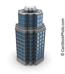 3d city building - 3d illustration of single skyscraper...
