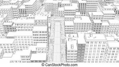 3d city illustration on white background. Abstract city building skyline. Modern city landscape. Metropolis background. White isolated background. Modern cityscape. Urban silhouette.