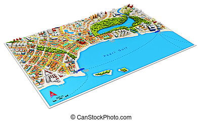 3D city map - Creative abstract GPS satellite navigation,...