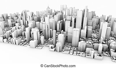 3d city over white background