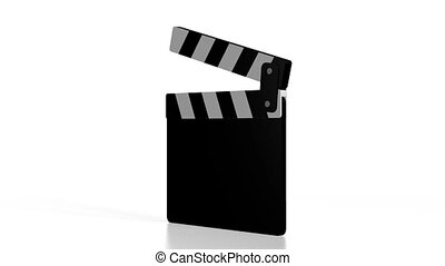 3D clapper-board, white background
