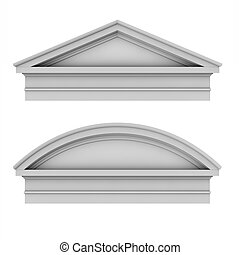 3d classic architecture Roman Tuscan pediments