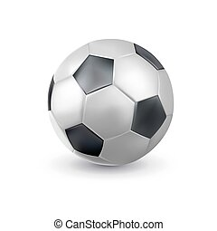 3d classic football soccer ball icon closeup. Realistic sporting equipment. Design template