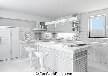 3d clay rander of a modern kitchen